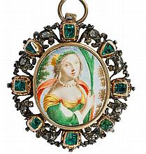 A pendant with a double-sided enamel on copper miniature.