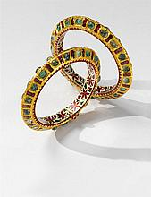 A pair of Indian 22k gold Jaipur enamel bracelets
