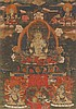 A Tibetan thangka of Amitayus. Gouache and gold paint on cloth. 18th century