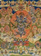 A Bön-Thangka of Vajrakila (?),  Tibet. Late 19th/20th century