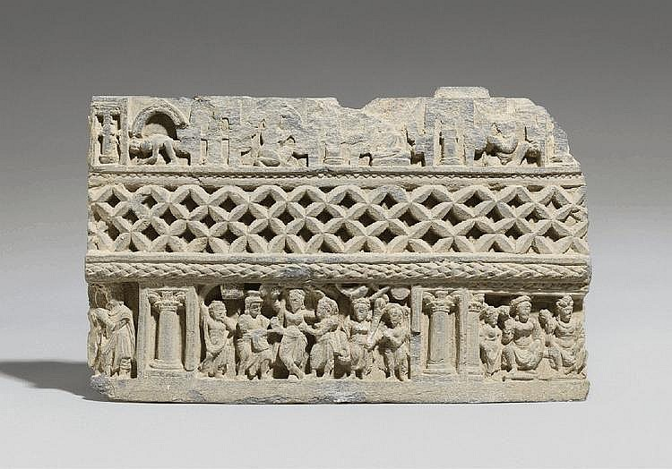 A Gandhara grey schist architectural fragment. Pakistan. 3rd/4th century