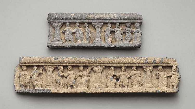 Two Gandhara grey schist architectural fragments. Pakistan. 3rd/4th century