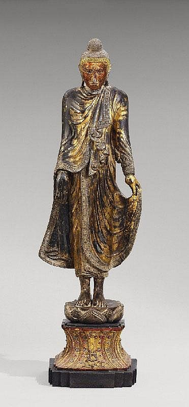 A Mandalay lacquered wood figure of Buddha. Burma.19th century