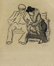 Heinrich Zille, Arbeiterpaar auf der Parkbank,
