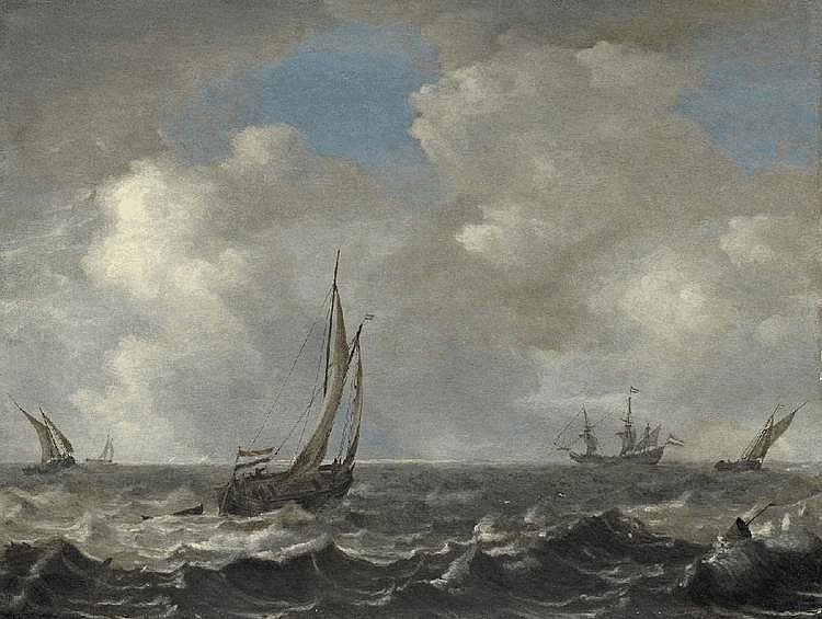 JAN PORCELLIS, STORMY SEA WITH SHIPS, oil on panel, 47.7 x 62.8 cm