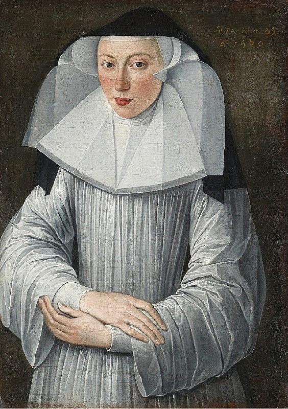 FLEMISH SCHOOL, 17th Century, PORTRAIT OF A NUN IN A WHITE GOWN, oil on canvas (relined), 76 x 53.5 cm