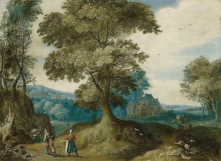 JASPER VAN DER LANEN, WOODED LANDSCAPE WITH FIGURAL STAFFAGE, oil on copper, 19.5 x 26.5 cm