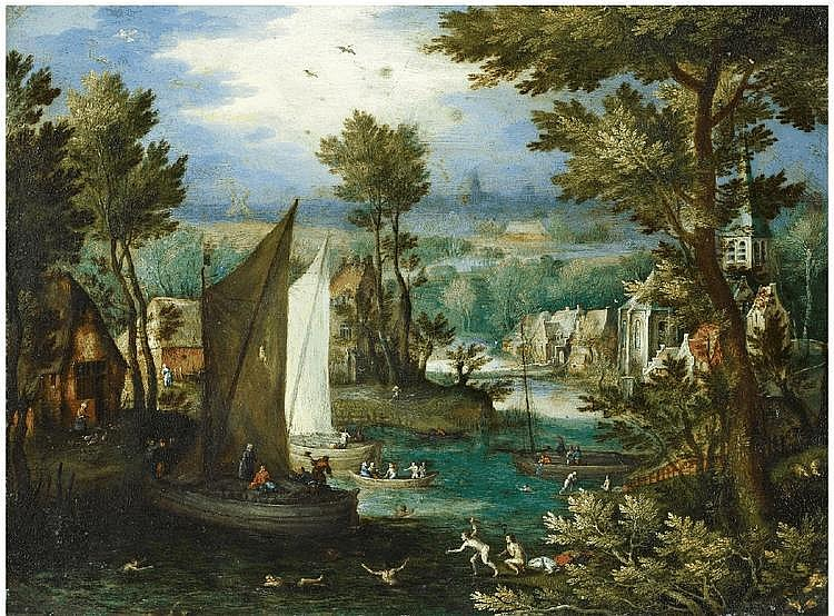 JAN BRUEGHEL THE ELDER, RIVER LANDSCAPE WITH BATHING FIGURES AND BOATS, oil on copper, 17 x 23 cm