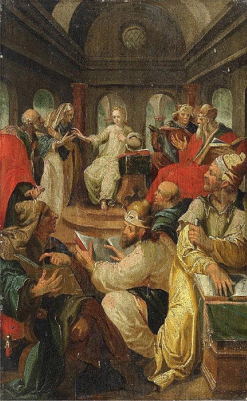 MASTER FROM PRAGUE, circa 1600, CHRIST AMONG THE DOCTORS, oil on panel, 47.4 x 29.5 cm
