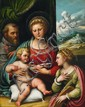 GIROLAMO DA TREVISO, THE HOLY FAMILY WITH SAINT CATHERINE, oil on panel (parqueted), 96 x 76 cm
