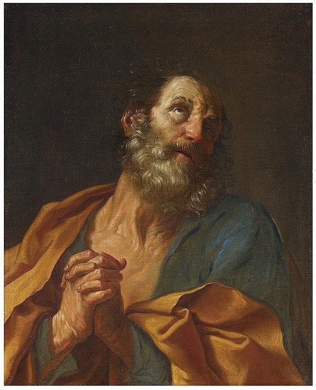 GUIDO RENI, THE PENITENT SAINT PETER, oil on canvas, 77.5 x 63 cm