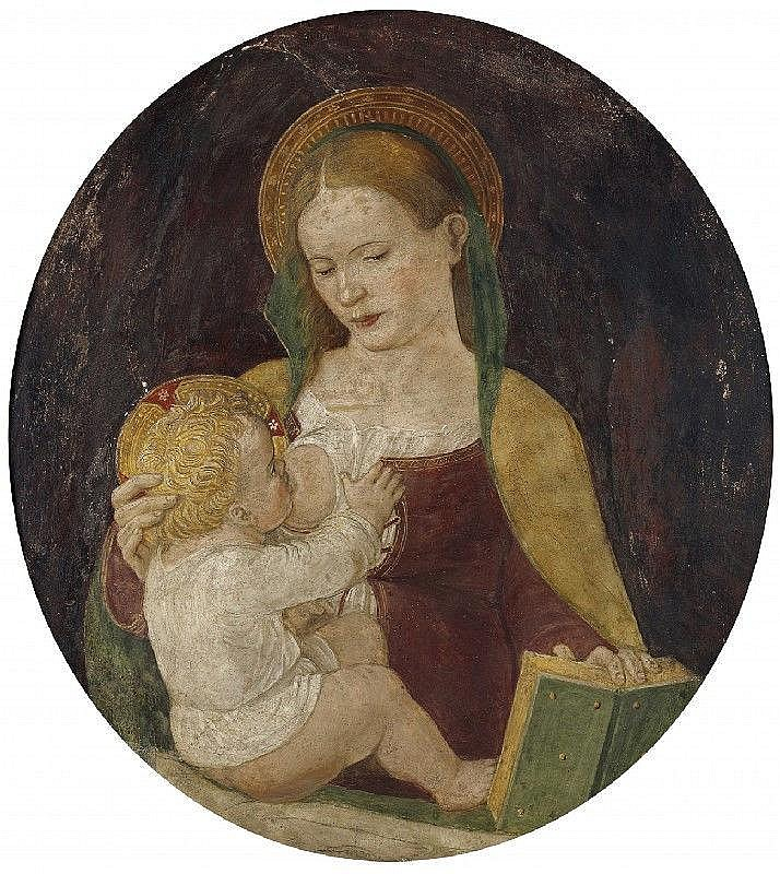 AMBROGIO BORGOGNONE, attributed to, THE VIRGIN WITH CHILD, Fresco, 76 x 69 cm (oval)