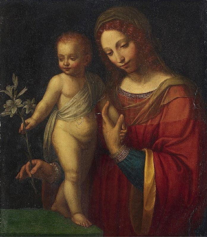 BERNARDINO LUINI, studio of, THE VIRGIN WITH CHILD HOLDING A BRANCH OF LILIES, oil on panel (parqueted), 71 x 62.5  cm