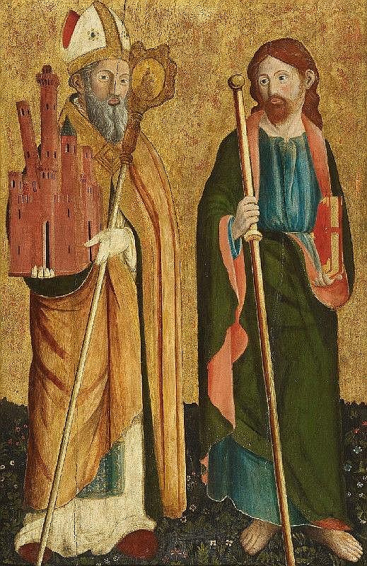 CRISTOFORO DI BENEDETTO, SAINT PETRONIUS AND THE APOSTLE JAKOBUS MAJOR, Tempera on wood, 90.5 x 61.7 cm
