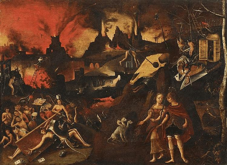 JAN MANDYN, follower of, AENEAS IN THE UNDERWORLD, oil on panel (parqueted), 63 x 87 cm