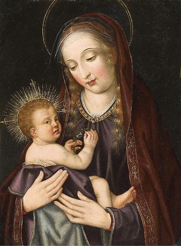 FLEMISH SCHOOL, second half 16th Century, THE VIRGIN WITH CHILD, oil on panel, 30 x 22 cm