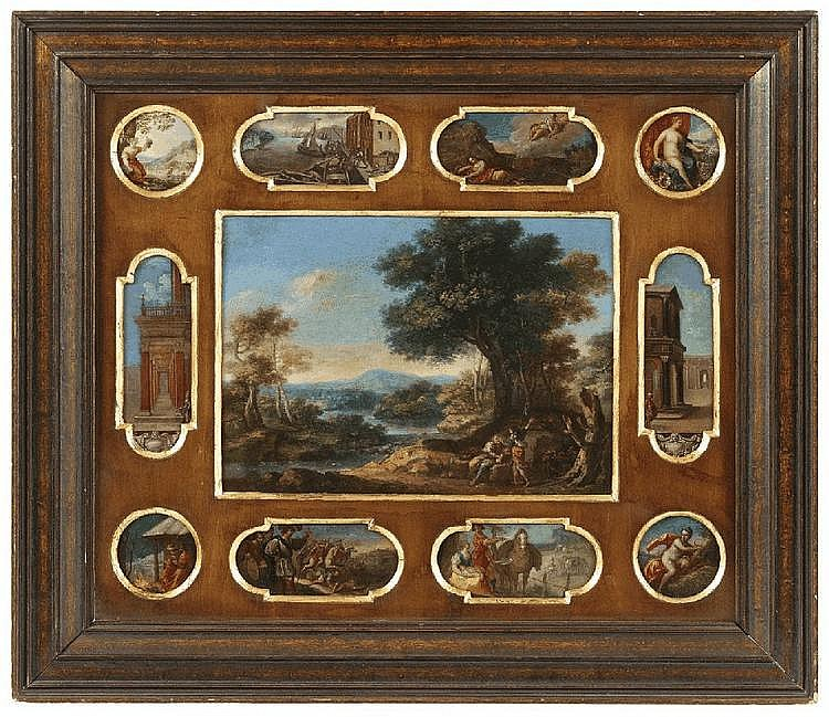 FLEMISH SCHOOL, 17th Century, ELEVEN COPPER PLATES WITH DIFFERENT DEPICTIONS, oil on copper, Different sizes: 23.5 x 32.5 cm, 17 x 6 cm, 6,5 x 13 resp. 13,5 cm, the tondi diameter of 7 cm each