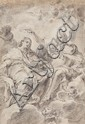 ITALIAN SCHOOLcirca 1700, CORONATION OF THE VIRGIN, Pencil on laid paper, 13 x 9 cm