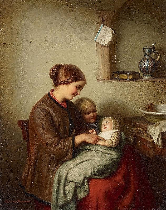 JOHANN GEORG MEYER VON BREMEN, THE FIRST SMILE, oil on canvas (relined), 38 x 30 cm