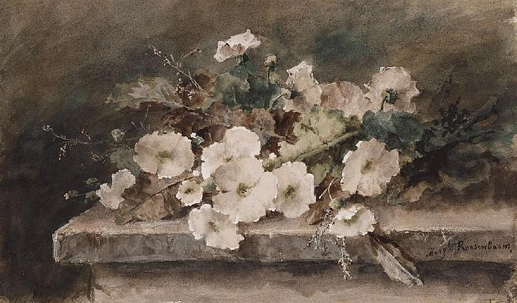 MARGARETHA ROOSENBOOM, HOLLYHOCK STEMS ON A STONE TABLE, Watercolour on paper, 31.5 x 53.5 cm