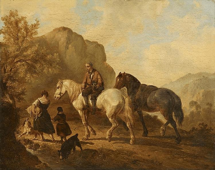 WOUTER VERSCHUUR, LANDSCAPE WITH HORSEMAN AND SHEPHERD, oil on panel, 36.5 x 45.5 cm