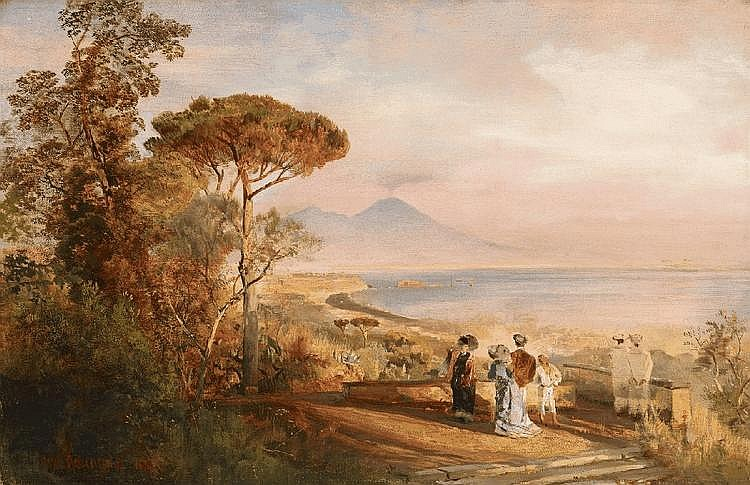 OSWALD ACHENBACH, THE BAY OF NAPLES, oil on canvas, 40 x 62 cm