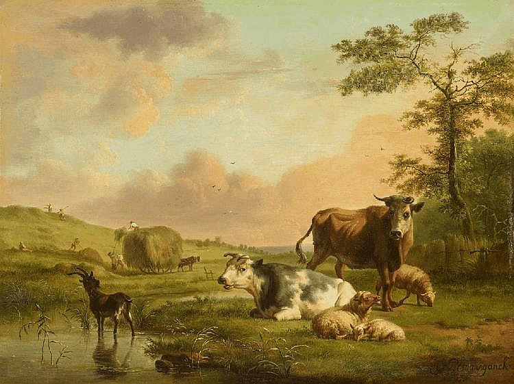 BALTHASAR PAUL OMMEGANCK, LANDSCAPE WITH HAY HARVEST AND ANIMALS, oil on panel (parqueted), 29.5 x 38.5 cm
