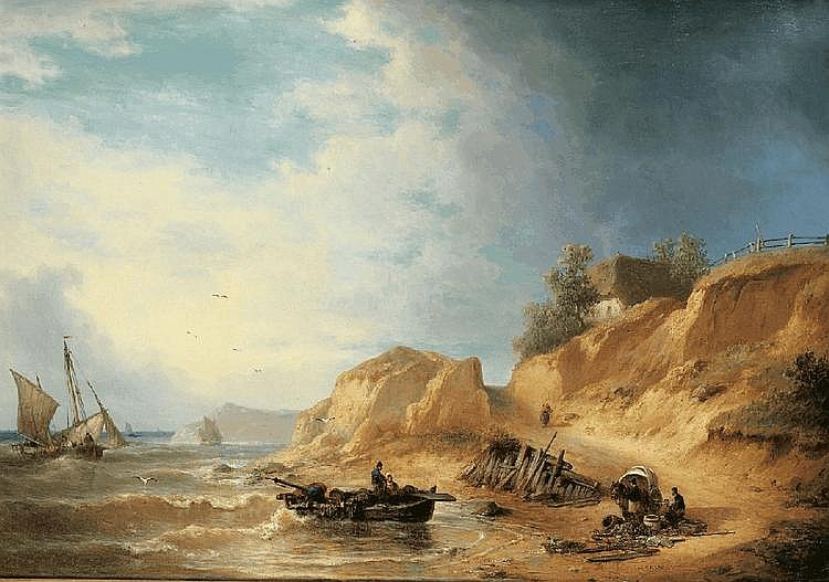LUDWIG HERMANN, COASTAL LANDSCAPE IN POMMERN, oil on canvas, 68,5 x 97 cm