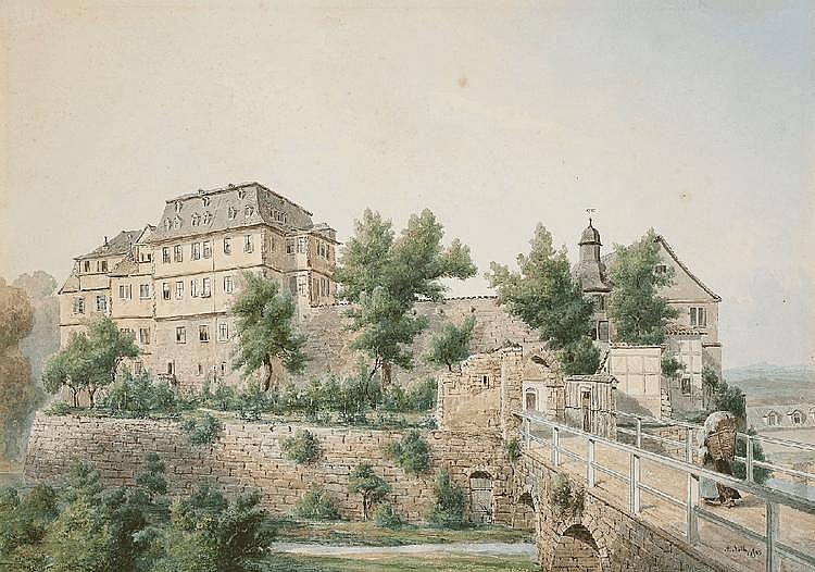 AUGUST FRIEDRICH WILHELM NOTHNAGEL, VIEW OF EBELEBEN CASTLE, Watercolour, 28 x 40 cm