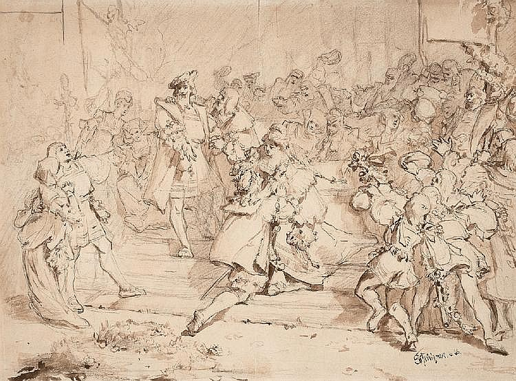 EDUARD VON GRÜTZNER, EVCHEN CROWNING WALTER VON STOLTZING, Pencil and brown brush on paper, 27.5 x 37 cm