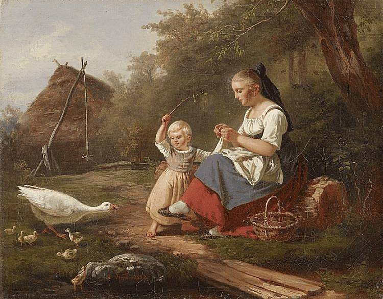 HERMANN WERNER, THE GIRL AND THE GOOSE MOTHER, oil on canvas (relined), 30 x 38.4 cm