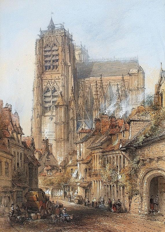 THOMAS COLMAN DIBDIN, ST. VULFRAN IN ABBEVILLE, Watercolour, 74 x 58 cm