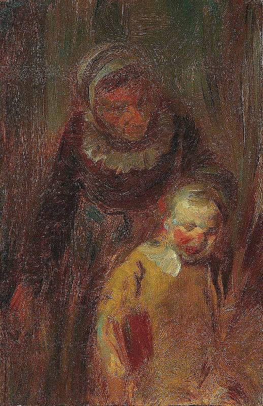 WILHELM BUSCH, A WOMAN GRABBING A BOY BY THE EAR, oil on panel, 37 x 23.5 cm