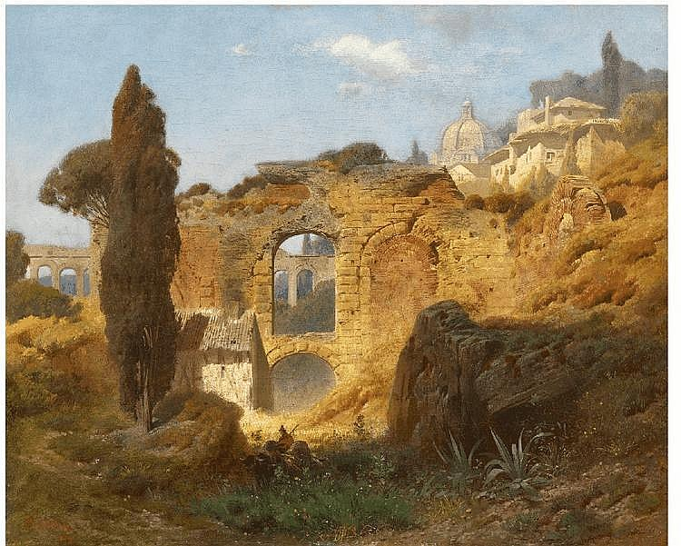 FERDINAND KNAB, THE RUINS OF TAORMINA, oil on canvas, 49 x 61.5 cm