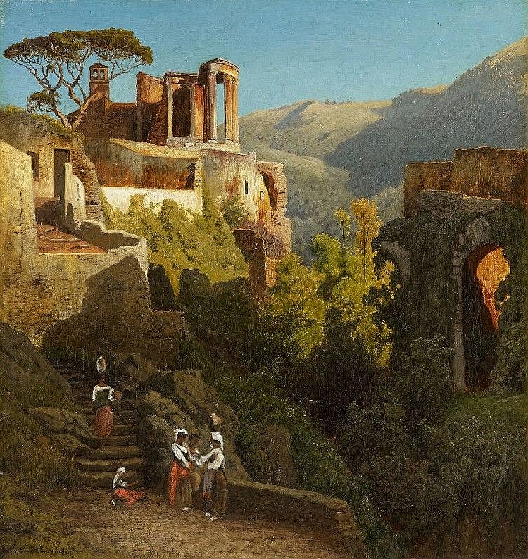 CARL JUNGHEIM, THE TEMPLE OF VESTA AT TIVOLI, oil on canvas, 52.5 x 49 cm