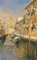 RUBENS SANTORO, VIEW OF VENICE, oil on panel, 47.5 x 29.5 cm