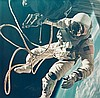 NASA, Edward H. White floats in the zero gravity of space outside the spacecraft, Gemini IV, 1965