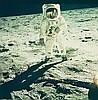 NASA, Astronaut Edwin E. Aldrin Jr. walks on the surface of the moon, Apollo 11,  1969