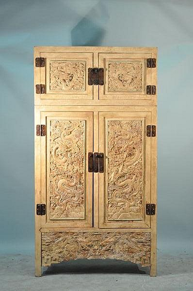 TWO-PIECE CARVED DRAGON MOTIF CHINESE CABINET