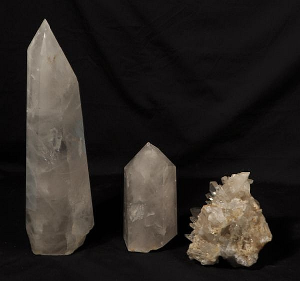LOT OF THREE ROCK CRYSTAL PIECES