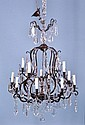 13-LIGHT BRONZE FINISH FRAME CRYSTAL CHANDELIER