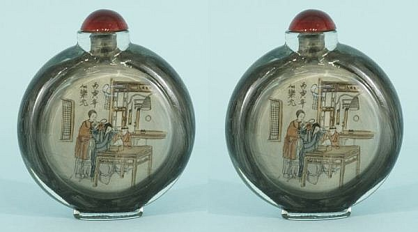 PAIR OF 19th CENTURY REVERSE PAINTED SNUFF BOTTLES