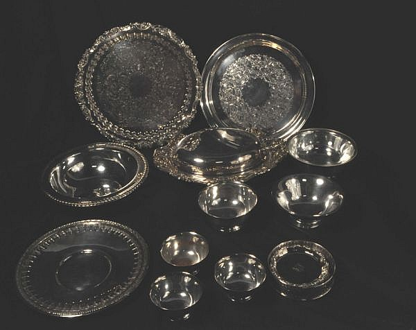 LOT OF TWELVE SILVERPLATED SERVING PIECES