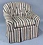 STRIPED UPHOLSTERED CLUB CHAIR