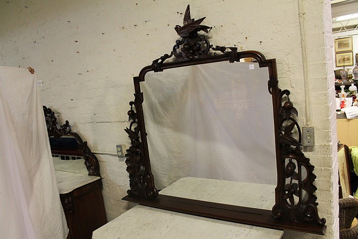 Victorian Walnut Mirror w/ carved fruits & birds
