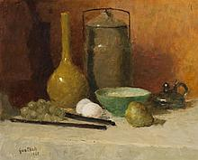 Gustav Goetsch, American (1877-1969), Still life with pear, 1967, oil on board, 16 x 20 inches