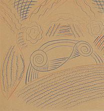 Attr. to Alexander Calder, American (1898-1976), Abstract composition, colored pencils on paper, 8 1/4 x 8 inches