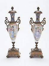 Pair of French Bronze, Champleve Enamel and Porcelain Urns