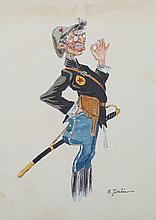 C. Doulin, Early 20th century, Leather bound sketchbook containing eleven watercolors, Cariacatures of army men and women,