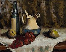 Victor Harles, American (1894-1975), Still life with grapes, oil on canvas, 16 x 20 inches